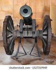 PARIS FRANCE 09 23 2019:  Historic artillery gun at the National Residence of Invalids, Paris, France