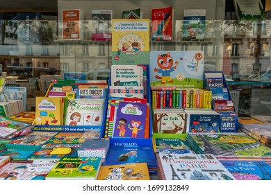 Paris, France, 09/10/2019: Street counter with children's books. Close-up.