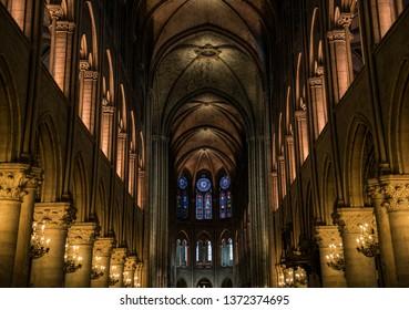 Paris, France - 09.30.2017: The interior of a church in Paris.
