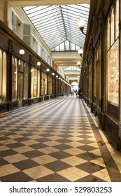 PARIS, FRANCE -1 JUNE 2016- Built in 1826, the Galerie Vero-Dodat is a neo-classical covered passage in the 1st arrondissement of Paris. Today it is home to antique and fashion stores.