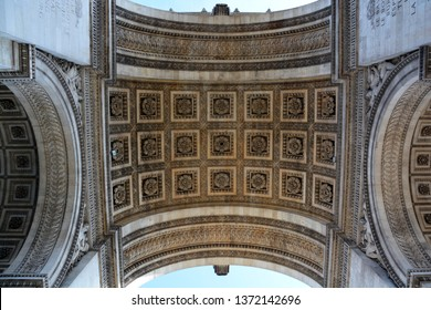 PARIS, FRANCE 10 17 14: Details of Triumphal Arch of the Star (arc de triomphe de l'etoile) is one of the most famous monuments in Paris. The monument was designed by Jean Chalgrin in 1806