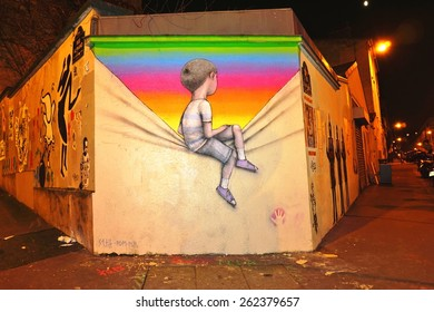 PARIS, FRANCE -10 MARCH 2015- Editorial: Colorful graffiti art line the street walls and back alleys of the Butte-aux-Cailles neighborhood in the 13th arrondissement of the French capital.