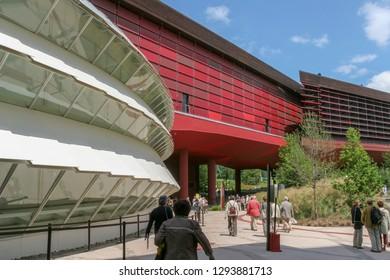 Paris France, 10-09-2018. Exterior of the  museum Jacques Chirac at quai Branly, Paris France.