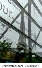 Paris France, 10-09-2018. View of the  museum Jacques Chirac and the Eiffel tower  at quai Branly, Paris France.