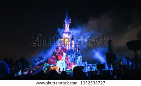Paris, France - 10/30/2017: Paris Disneyland magic light show