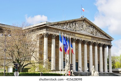 PARIS, FRANCE -11 APRIL 2016- The French Parliament, or Assemblee Nationale (National Assembly), meets in the Palais Bourbon building in the 7th arrondissement of Paris.