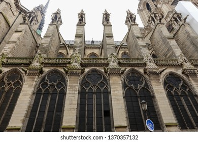 Paris, France - 11.04.2014: Cathedral Notre Dame in Paris. Famous and important Gothic Building in history of art.