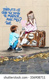 """Paris, France. 11.08.2015. Artistic graph and collage related to a proposal in Paris, on a wall near Montmartre. A kid is proposing to a little girl: """"Zaira, do you want to marry me?"""", """"Yes""""."""