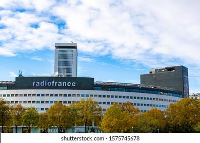 Paris, France 11/10/19 -  Maison de la radio, National french radio building in Paris called maison de le radio or la maison ronde. Orchestre Philharmonique