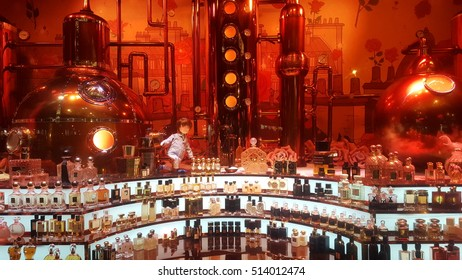 Paris, France. 11.10.2016. The New Printemps department store windows for Christmas with automats playing with bottles of fragrances