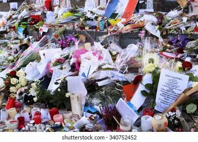 Paris, France. 11.18.2015. Paris's Mourning to grieve the dead at Place de la Republique, after Paris' attacks and killings and after another assault happened at Saint-Denis.