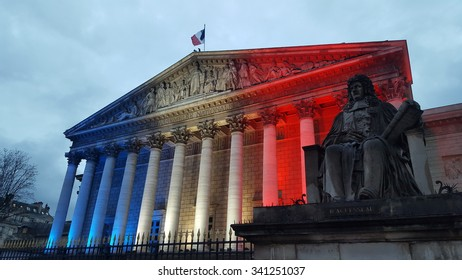 Paris, FRANCE. 11.19.2015. The French National Assembly lighted with the colors of the French flag to pay tribute to the victims of the terrorist attacks.