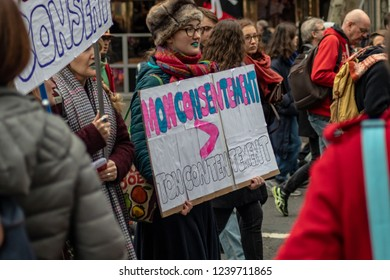 Paris, France - 11.24.2018 Rally against the sexual abuse and violence against women.  Signs and banners