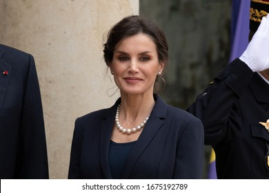 Paris, FRANCE - 11th March 2020 : Queen Letizia of Spain (Letizia Ortiz) for a lunch at Elysée Palace with french presidential couple.