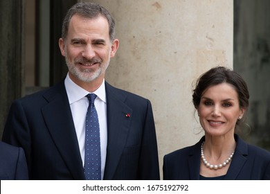 Paris, FRANCE - 11th March 2020 : King Felipe VI of Spain and Letizia of Spain (Letizia Ortiz) at Elysée Palace for a lunch with french presidential couple.
