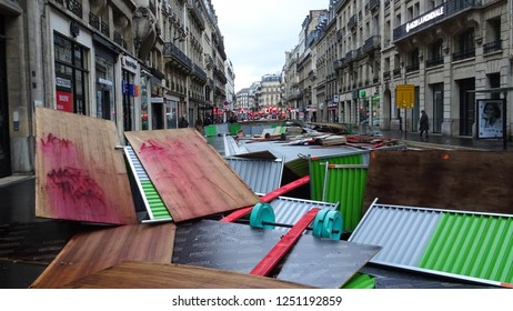 Paris / France - 12 02 2018: broken barricade used by rioters, aftermath of yellow vests protests on 1 December 2018, symbol of violent political action