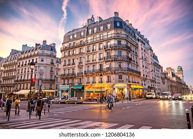 PARIS, FRANCE - 12 Oct 2018: Streets of Latin Quarter in Paris at sunset