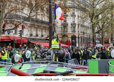 Paris, France- 12.01.2018 Rally Yellow Vests (Gilets Jaunes)  Against the new carburant taxes, the government and Emanuel Macron.