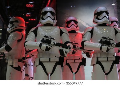 Paris, France. 12.26.2015. Stormtroopers in the windows of the Galeries Lafayette for Christmas 2015 decorations, celebrating the launch of the new Star Wars movie.