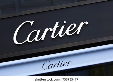 PARIS FRANCE - 12TH NOVEMBER 2017; Architectural detail of the 'Cartier' Store front along Champs Elysees in Paris