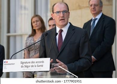 Paris, FRANCE - 13th july 2020 : French Prime minister Jean Castex in press conference to speak about Ségur de la Santé agreement at the Hôtel de Matignon.