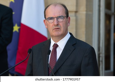Paris, FRANCE - 13th july 2020 : French Prime minister Jean Castex in press conference to speak about Ségur de la Santé agreement at the Hôtel de Matignon.