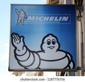 Paris, France, 14 september 2018: sign of the Michelin man on a wall in Paris