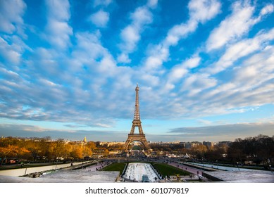 PARIS, FRANCE - 14FEB2017: View of the Eiffel Tower from Place du Trocadero.