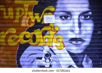 PARIS, FRANCE -15 AUGUST 2015- Graffiti paintings line the street walls and back alleys of the French capital.