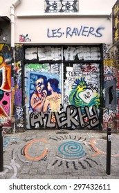 PARIS, FRANCE -15 JUNE 2015- Graffiti art line the street walls and back alleys of the Belleville neighborhood between the 11th and 20th arrondissements of the French capital.