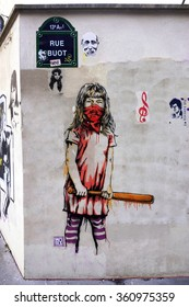 PARIS, FRANCE -15 JUNE 2015- Graffiti paintings by famous street artists in the Butte aux Cailles neighborhood in the 13th arrondissement of the French capital.