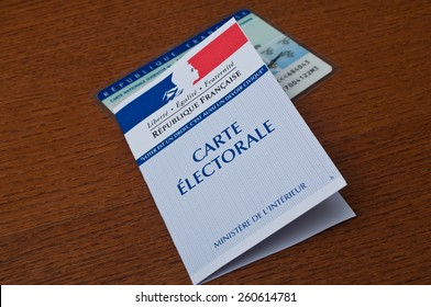 PARIS - France - 15 March 2015 - french electoral card on wooden background