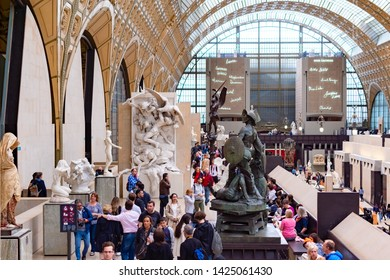 Paris, France, 15 May 2019 - Interior view of Museum Orsay in Paris with Visitors at the Musee d Orsay