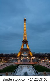 Paris, France - 15.01.2019: Night view of Eiffel Tower, a iron tower on the Champ de Mars in Paris, France. Travel
