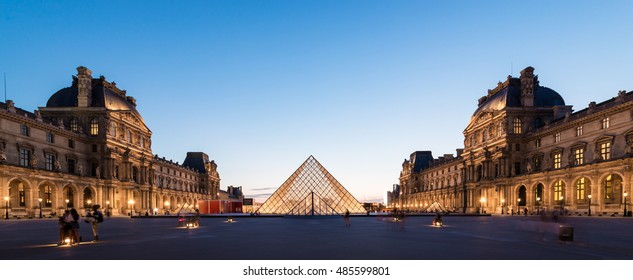 PARIS, FRANCE -16 July , 2015: Louvre museum at twilight in Paris , france on 16 July , 2015