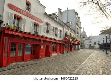 PARIS, FRANCE - 17 MAR 2020: France ordered lockdown in Covid-19 battle, famous touristic spots like Place du Tertre, close to Sacré Coeur church, usually crowded are deserted.