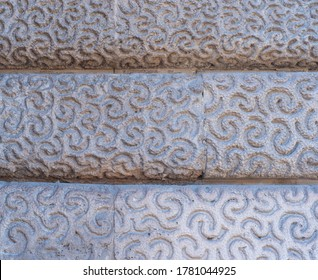 Paris, France, 17 May 2020: White mosaic decoration tile wall texture background.  Beautiful pattern.
