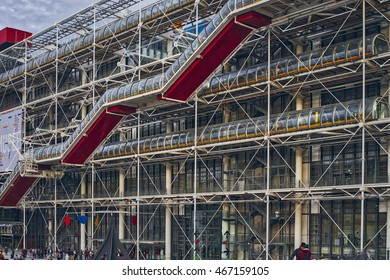 Paris, France - 17 September, 2015: Centre Georges Pompidou (1977) was designed in style of high-tech architecture. It houses library, National Art Modern museum and IRCAM.