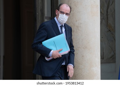Paris, FRANCE - 17th march 2021 : French Prime minister Jean Castex after a defense council in the courtyard of Elysée Palace.
