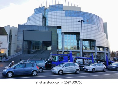 PARIS, FRANCE -18 DEC 2019- Designed by Carlos Ott, the modern Bastille Opera House on Place de la Bastille in Paris was inaugurated in 1989.