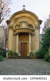 PARIS, FRANCE -18 DEC 2019- View of the landmark Saint-Ephrem-le-Syriaque church, a historic Syriac catholic monument on rue des Carmes in the 5th arrondissement in Paris, France.