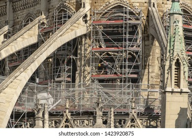 PARIS, FRANCE - 19 APRIL 2019 Notre Dame cathedral, after the timber roof caught fire.  The melted scaffolding,  constructed for the exact purpose of restoring the roof was left standing