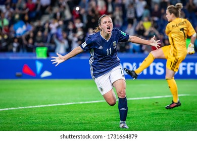 PARIS, FRANCE - 19 JUNE, 2019: Florencia Bonsegundo of Argentina celebrates a goal during the 2019 FIFA Women's World Cup match between Scotland and Argentina.