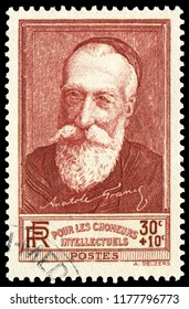 Paris, France - 1936: Anatole France(1844-1924), French poet, journalist, and successful novelist. Stamp issued by French Post in 1936.
