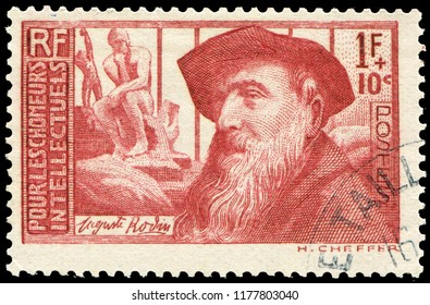 Paris, France - 1936: Auguste Rodin (1840-1917), French sculptor, progenitor of modern sculpture. Stamp issued by French Post in 1936.