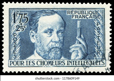 Paris, France - 1936: Louis Pasteur(1822-1895), French biologist, microbiologist and chemist. Stamp issued by French Post in 1936.