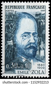 Paris, France - 1967: Emile Zola (1840-1902), French novelist, playwright and journalist. Stamp issued by French Post in 1967.