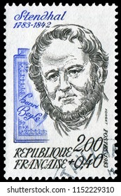 Paris, France - 1983: Marie-Henri Beyle (1783-1842), pen name Stendhal, 19th-century French writer. Best known for the novel The Red and the Black(1830).  Stamp issued by French Post in 1983.