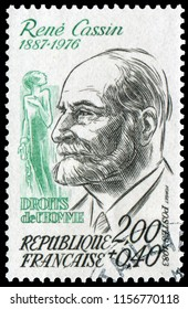 Paris, France - 1983: Rene Samuel Cassin (1887-1976), French jurist, law professor and judge. Stamp issued by French Post in 1983.