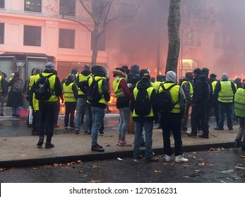 Paris, France - 1th december 2018: demonstration of yellow vests in the street - Image